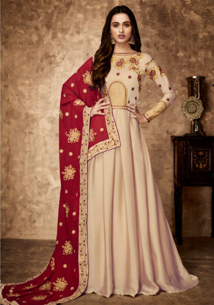 Aashirwad Gulnaaz Royal Georgette Satin With Embroidery Gowns 8023
