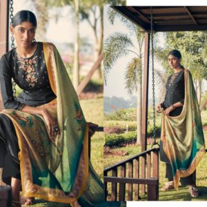 Angroop Plus Presents Emerald Designer Fabric With Digital Print Dress Material GA021