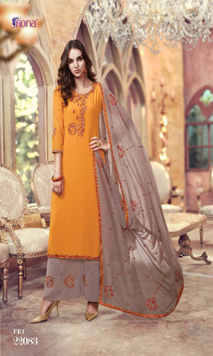 Fiona Suhana Sharma Faux Georgette with Embroidery Work Suits 22083