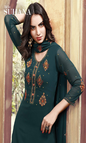 Fiona Suhana Sharma Faux Georgette with Embroidery Work Suits 22086