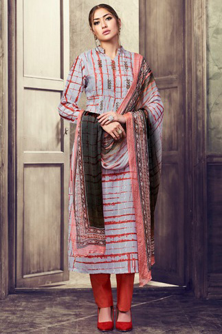 Buy Haya The Winds Pure Cotton Satin Digital Print With Shifly Embroidery Suit 6541