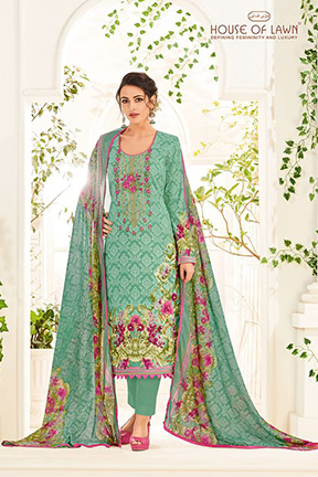 Buy House Of Lawn Muslin Vol 12 Lawn Cotton With Self Embroidery Salwar Kameez 1205