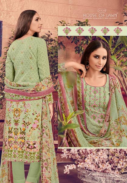 Buy House of Lawn Muslin Pure Jam Satin Digital Style Print Suits 108