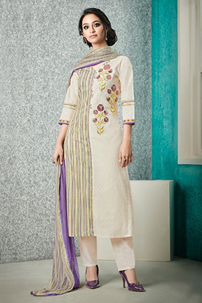 Buy Jay Vijay Adaa 2 Pure Cotton Butti With Digital Print Embroidery Suits 4167