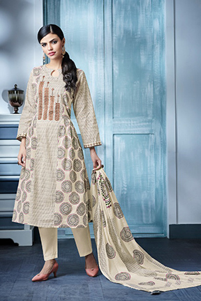Buy Jay Vijay Blaze 4 Pure Cotton Print With Embroidery Work Suits 4144