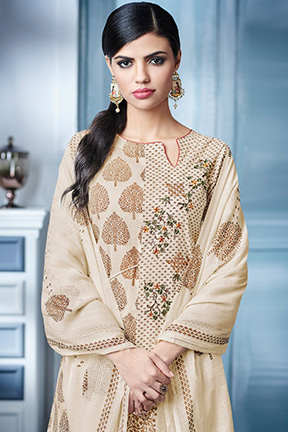 Buy Jay Vijay Blaze 4 Pure Cotton Print With Embroidery Work Suits 4146