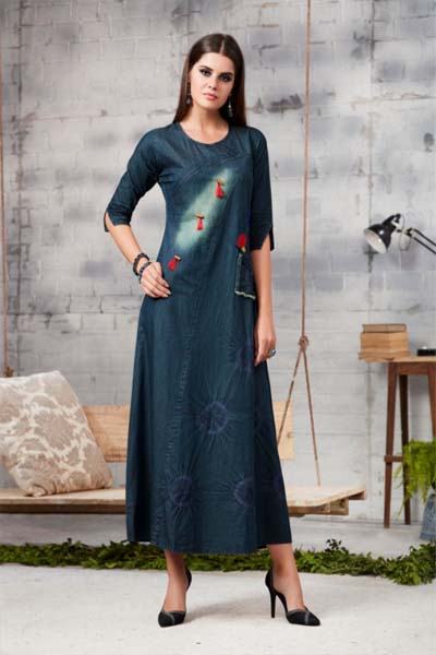 Kajree Blue Lee Vol 2 Embroidered Denim Gowns 711
