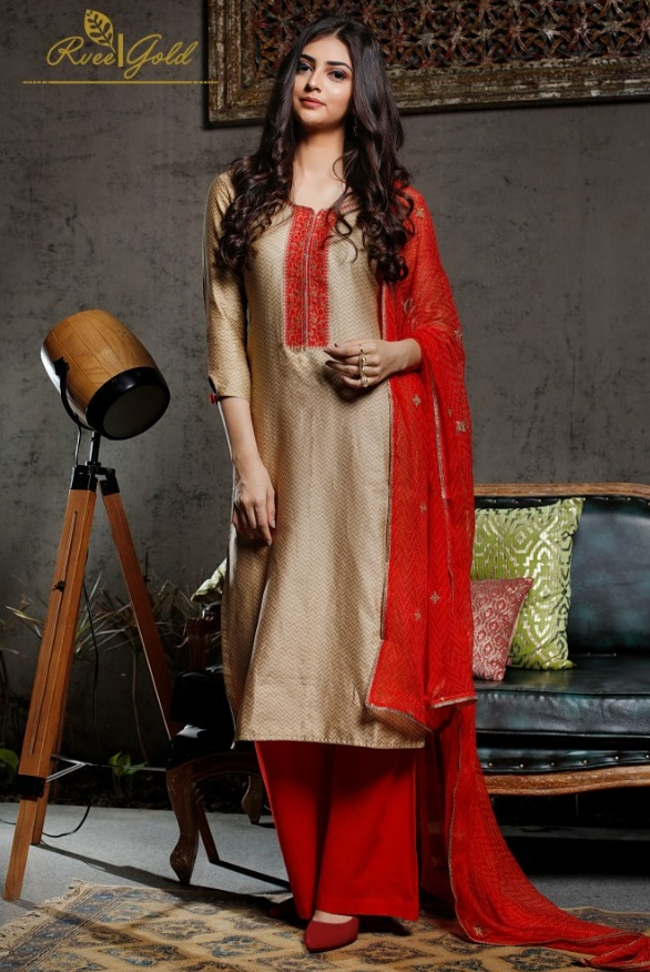 Rvee Gold Festive Crush Jam Satin Printed With Self Embroidery Suit 314