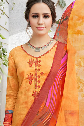 Buy Sadhana Fashion Vol 15 Cotton Digital Print With Neck Embroidery Suits 9336
