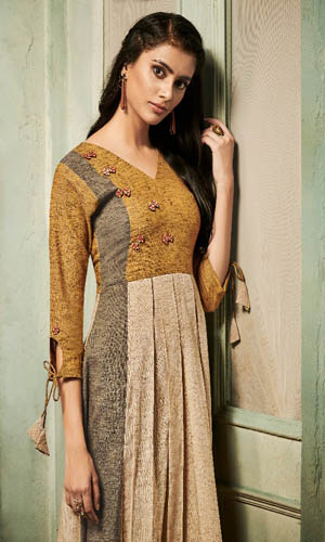 Shai Impartial Pure Khaadi Patchwork With Fancy Buttons Kurtis 1605