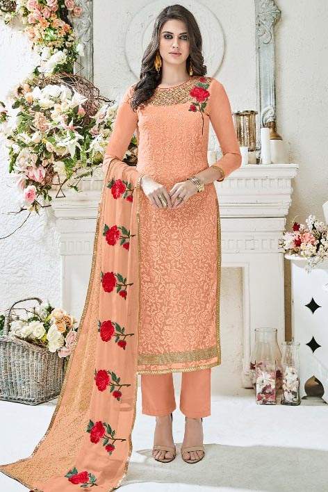 Buy Shree Fabs Rivaaz Fox Georgette With Heavy Karachi Embroidery Suit 6161