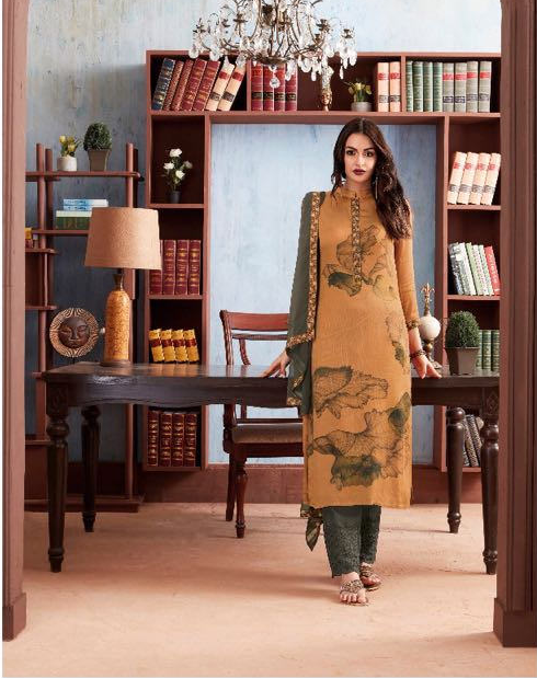 Buy Ganga Paper Flower Cotton with Embroidery Design Suit's 1123