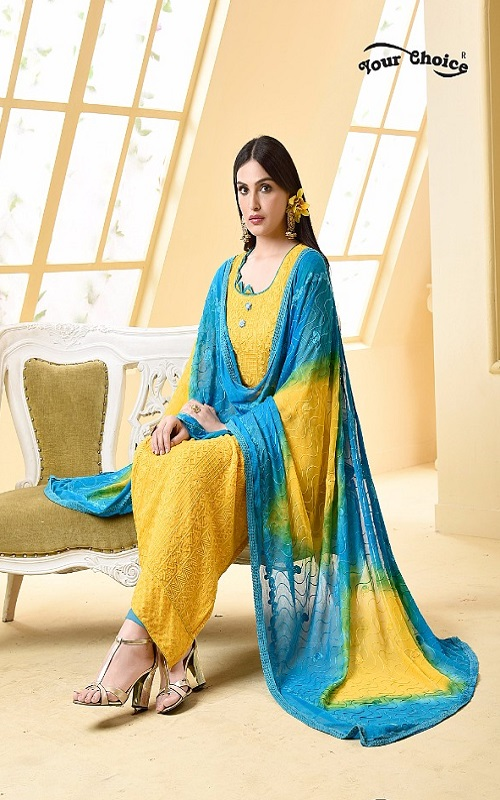 Your Choice Dinnar Vol 19 Pure Chiffon Embroidery Salwar Suit 2868